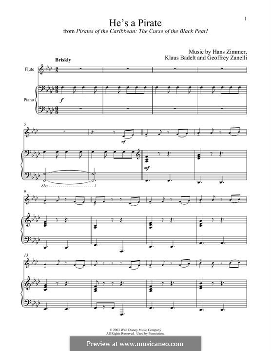 He's a Pirate (from Pirates of the Caribbean: The Curse of the Black Pearl): para flauta e piano by Klaus Badelt