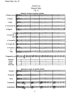 Slavonic March, TH 45 Op.31: partitura completa by Pyotr Tchaikovsky