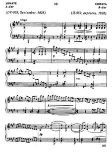 Sonata for Piano No.20 in A Major, D.959: para um único musico (Editado por H. Bulow) by Franz Schubert