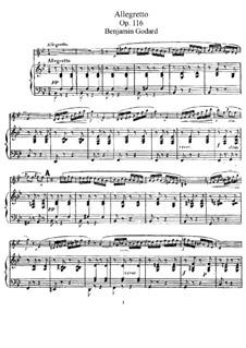 Pieces for Flute and Piano, Op.116: Allegretto – score by Benjamin Godard
