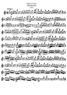 Tambourin in F Major: para flauta e piano - parte flauta by François Joseph Gossec