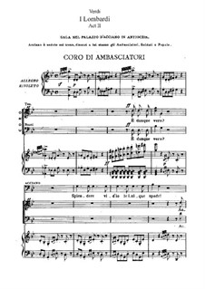 The Lombards on the First Crusade: ato II, para solista,coral e piano by Giuseppe Verdi