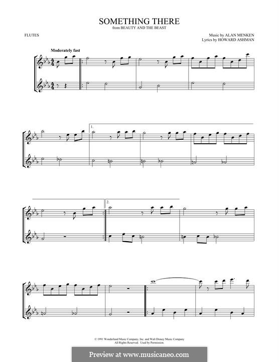 Something There (from Beauty and the Beast): para duas flautas by Alan Menken