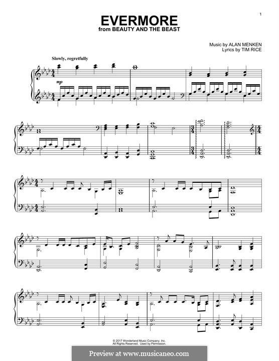 Evermore: Para Piano by Alan Menken