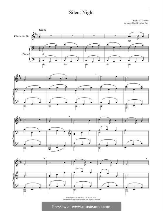 Silent Night, for Two Instruments: para clarinete e piano by Franz Xaver Gruber