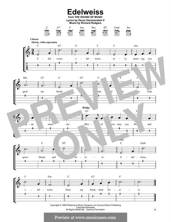 Edelweiss (from The Sound of Music): para ukulele by Richard Rodgers