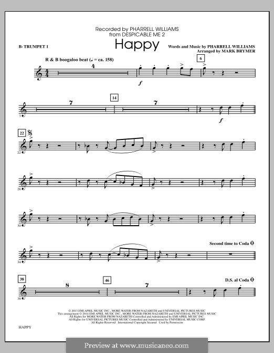 Happy: Bb Trumpet 1 part (arr. Mark Brymer) by Pharrell Williams