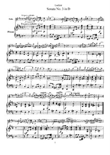 Sonata for Violin and Basso Continuo No.3, Op.9: Version for violin and piano – score by Jean-Marie Leclair