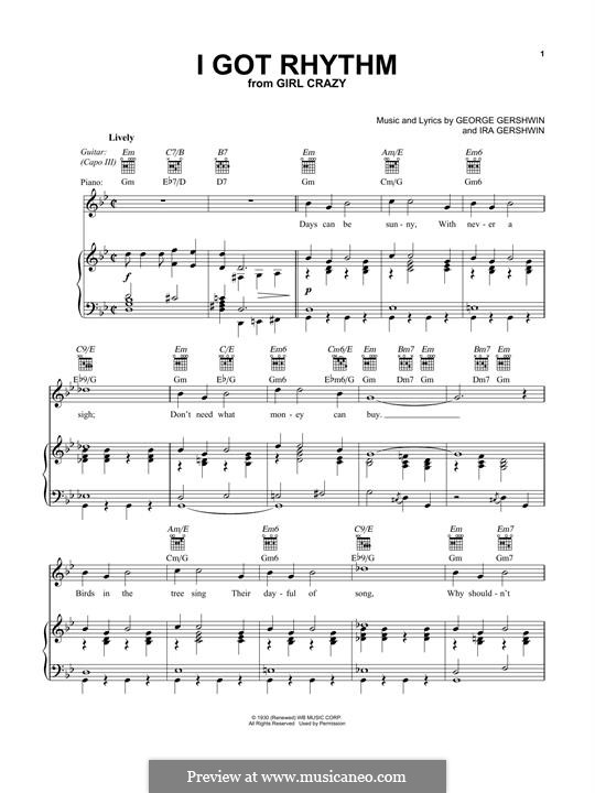 I Got Rhythm: Para vocais e piano (ou Guitarra) by George Gershwin
