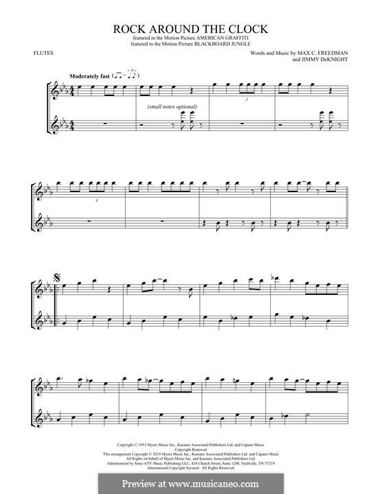 Rock Around the Clock (Bill Haley and His Comets): para duas flautas by Jimmy DeKnight, Max C. Freedman