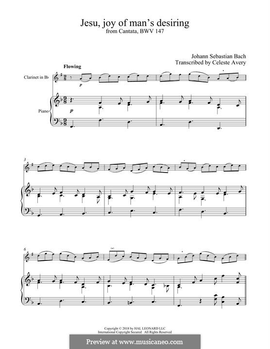 Jesu, Joy of Man's Desiring (Printable Scores): para clarinete e piano by Johann Sebastian Bach