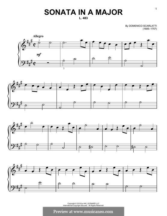 Sonata No.483 in A Major, K.322 L.483 P.360: Para Piano by Domenico Scarlatti