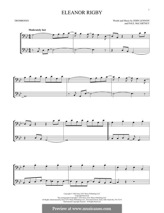 Eleanor Rigby (The Beatles): For two trombones by John Lennon, Paul McCartney
