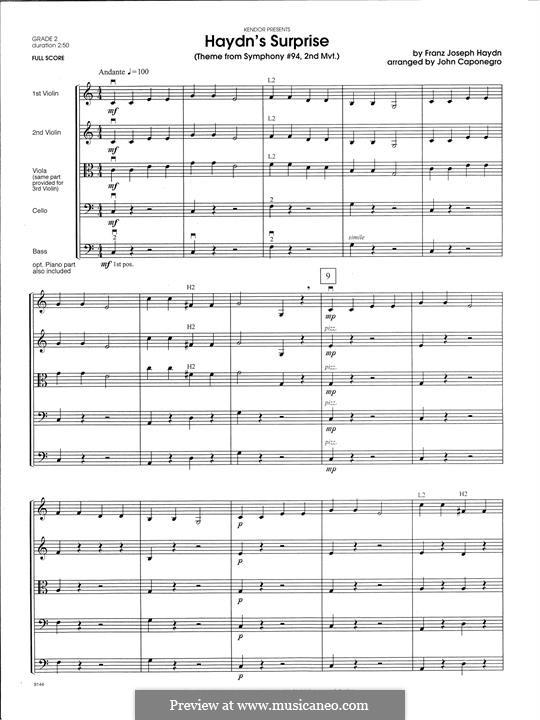 Movement II: Theme, for strings - full score by Joseph Haydn