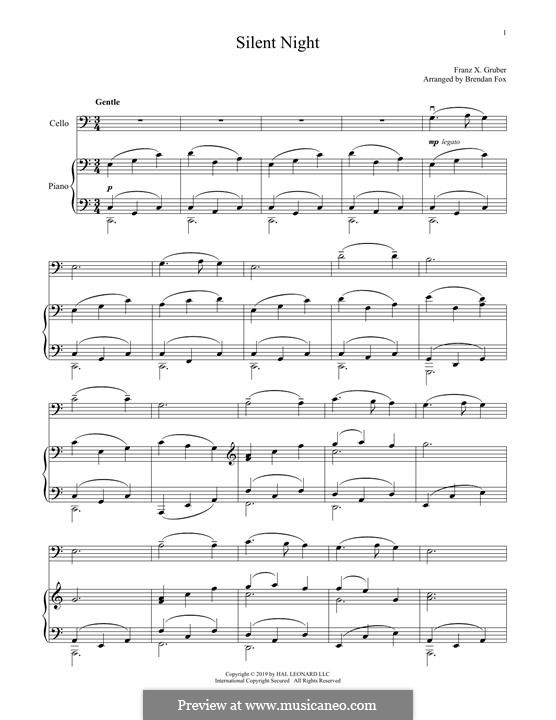 Silent Night, for Two Instruments: para Violoncelo e piano by Franz Xaver Gruber