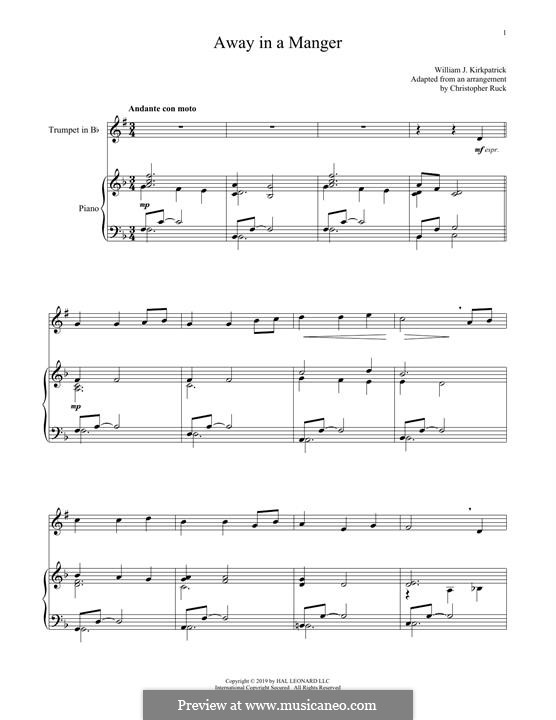 Away in a Manger: para trompeta e piano by folklore