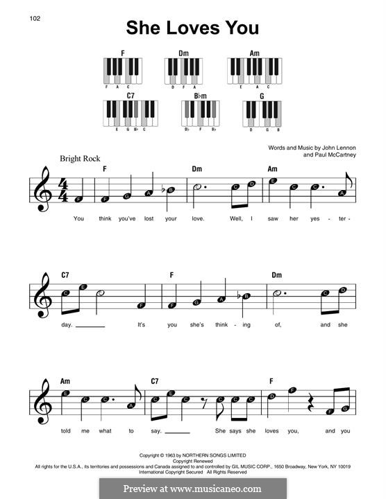 She Loves You (The Beatles): Para Piano by John Lennon, Paul McCartney