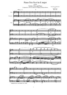 Trio for Violin, Cello and Piano No.3 in E Major, K.542: Score, parts by Wolfgang Amadeus Mozart