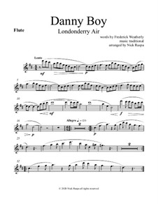 Danny Boy (Londonderry Air): For woodwind quintet - flute part by folklore