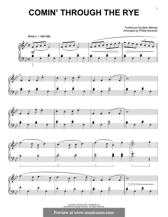 Comin' thro' the Rye: Para Piano by folklore