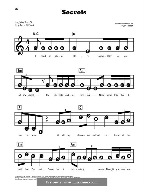 Secrets (OneRepublic): melodia by Ryan B Tedder