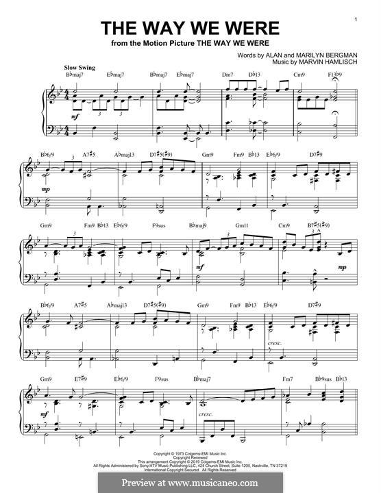 The Way We Were (Barbra Streisand): For piano (jazz version) by Marvin Hamlisch