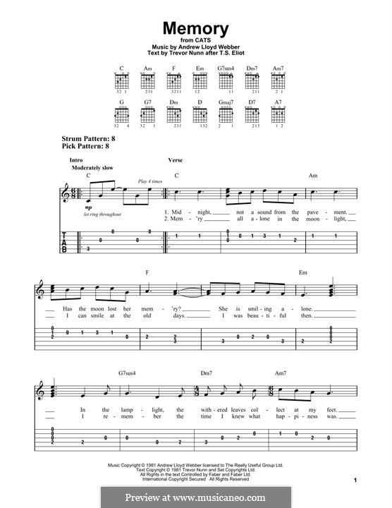 Memory (from Cats): Para Guitarra by Andrew Lloyd Webber