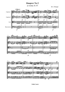 String Quartet No.2 in D Major, K.155: partitura completa by Wolfgang Amadeus Mozart