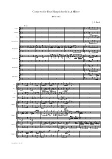 Concerto for Four Harpsichords and Strings in A Minor, BWV 1065: Score, parts by Johann Sebastian Bach