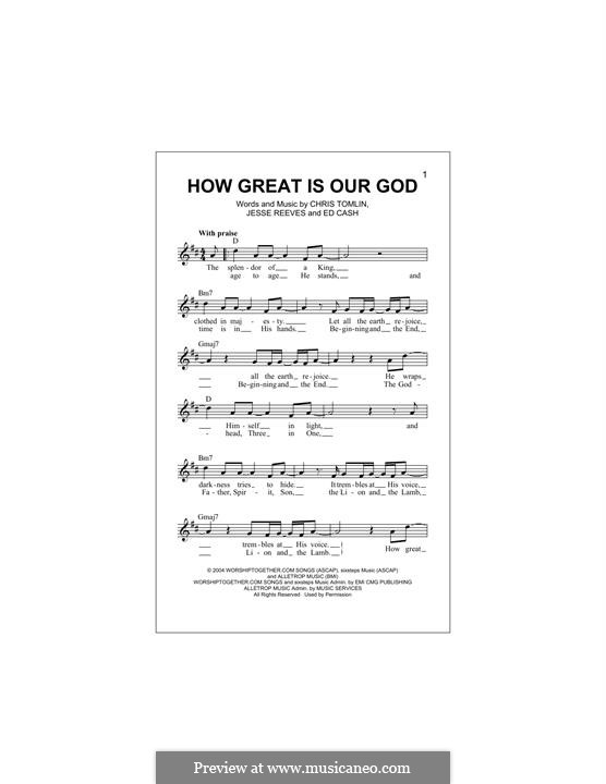 How Great Is Our God: melodia by Chris Tomlin, Ed Cash, Jesse Reeves