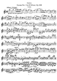 Sonata for Violin and Piano No.3 in D Minor, Op.108: Parte de solo by Johannes Brahms