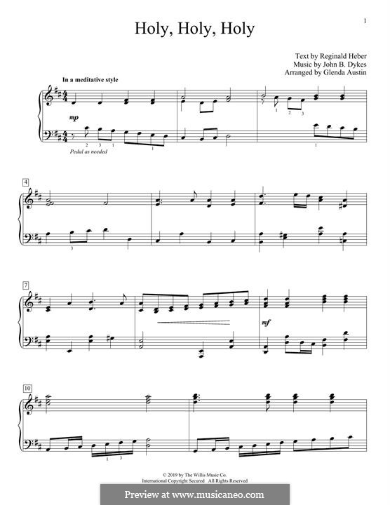 Holy, Holy, Holy! Lord God Almighty: Para Piano by John Bacchus Dykes