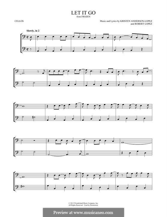 Let It Go (from Frozen): para dois violoncelo by Robert Lopez, Kristen Anderson-Lopez