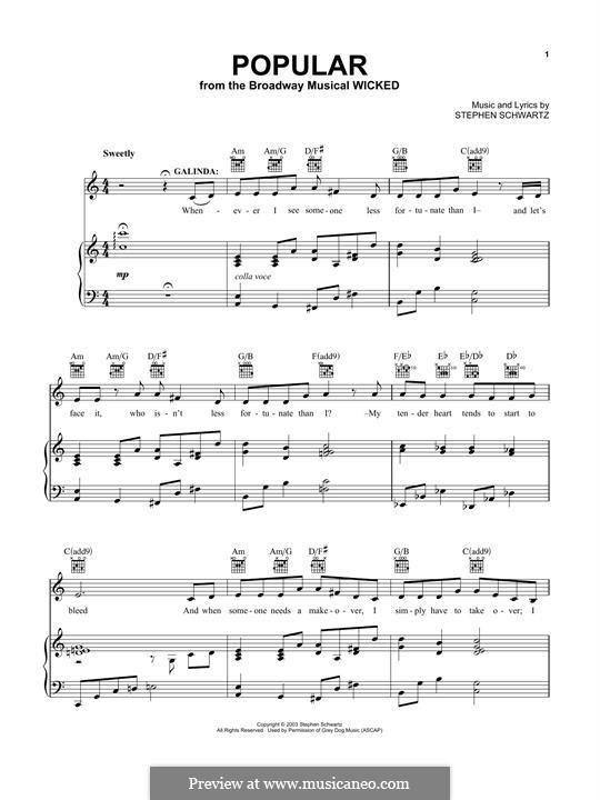 Popular (from Wicked): Para vocais e piano (ou Guitarra) by Stephen Schwartz