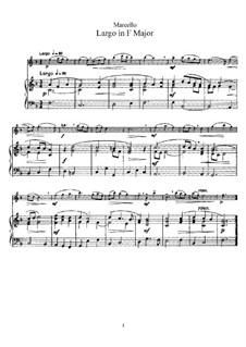 Largo in F Major for Flute and Piano: partitura by Benedetto Marcello