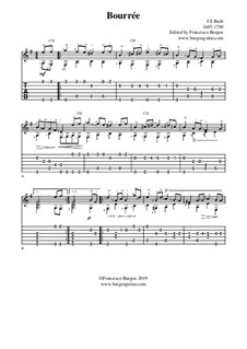 Suite for Lute (or Harpsichord) in E Minor, BWV 996: Bourrée. Version for guitar with tab by Johann Sebastian Bach
