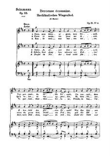 No.14 Hochländisches Wiegenlied (Highland Lullaby): Partitura piano-vocal (textos em francês e alemão) by Robert Schumann