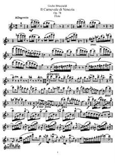 Carnival of Venice for Flute and Orchestra, Op.78: Versão para flauta e piano - Flauta parte by Giulio Briccialdi