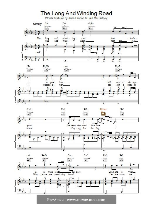The Long and Winding Road (The Beatles): Para vocais e piano (ou Guitarra) by John Lennon, Paul McCartney