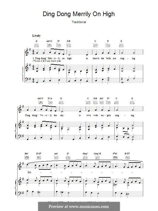 Ding Dong! Merrily on High (Printable Scores): Para vocais e piano (ou Guitarra) by folklore