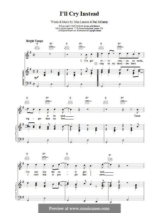 I'll Cry Instead (The Beatles): Para vocais e piano (ou Guitarra) by John Lennon, Paul McCartney