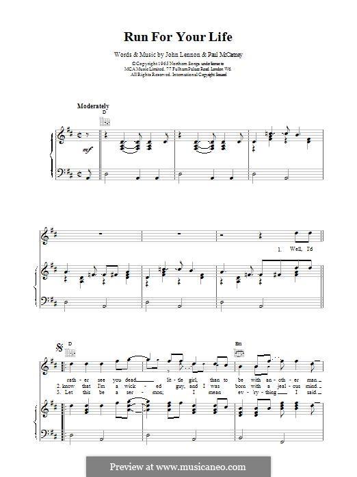 Run for Your Life (The Beatles): Para vocais e piano (ou Guitarra) by John Lennon, Paul McCartney