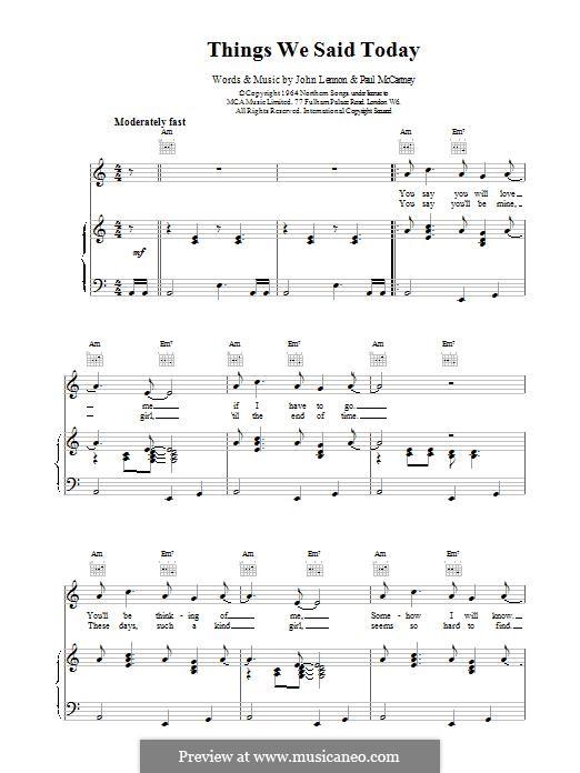 Things We Said Today (The Beatles): Para vocais e piano (ou Guitarra) by John Lennon, Paul McCartney