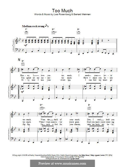 Too Much (Elvis Presley): Para vocais e piano (ou Guitarra) by Bernard Weinman, Lee Rosenberg