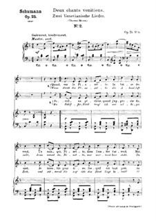No.18 Venetian Song No.2: gravação piano-vocal (texto alemão e francês) by Robert Schumann