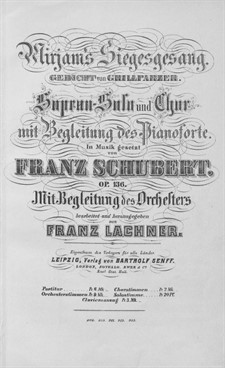 Song of Miriam, D.942 Op.136: For soprano, choir and orchestra by Franz Schubert