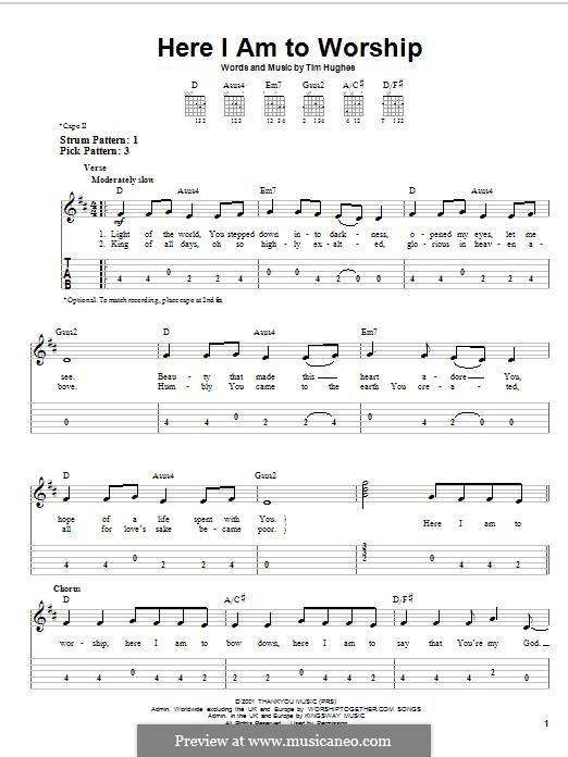 Here I am to Worship (Phillips, Craig & Dean): Para guitarra com guia by Tim Hughes