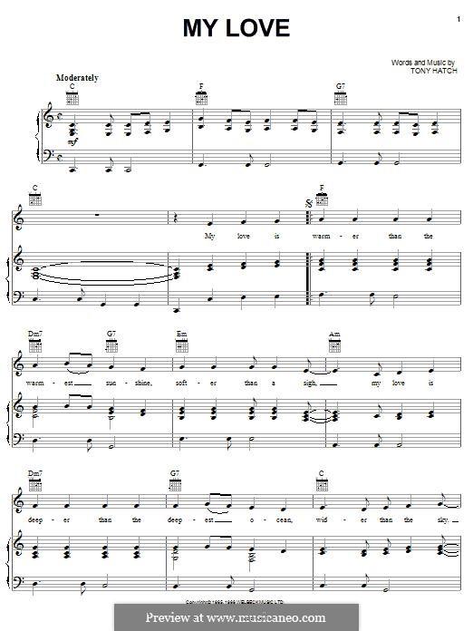 My Love: Para vocais e piano (ou Guitarra) by Tony Hatch