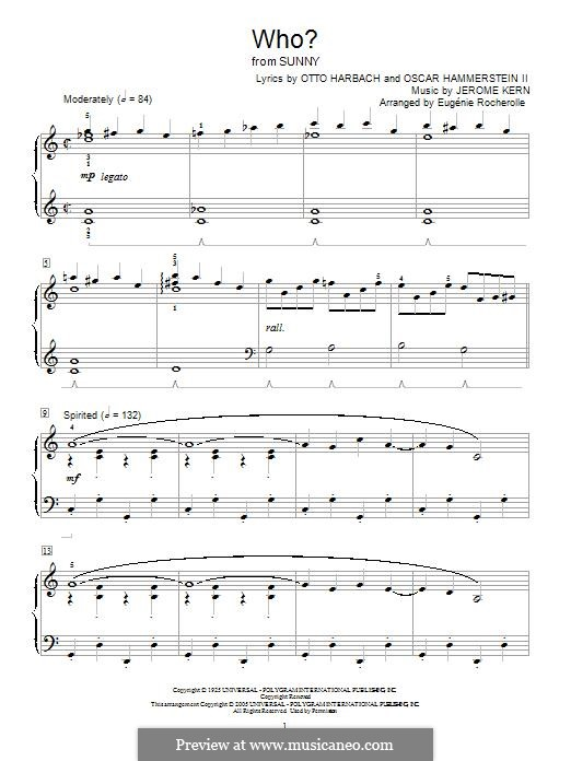 Who?: Para Piano by Jerome Kern