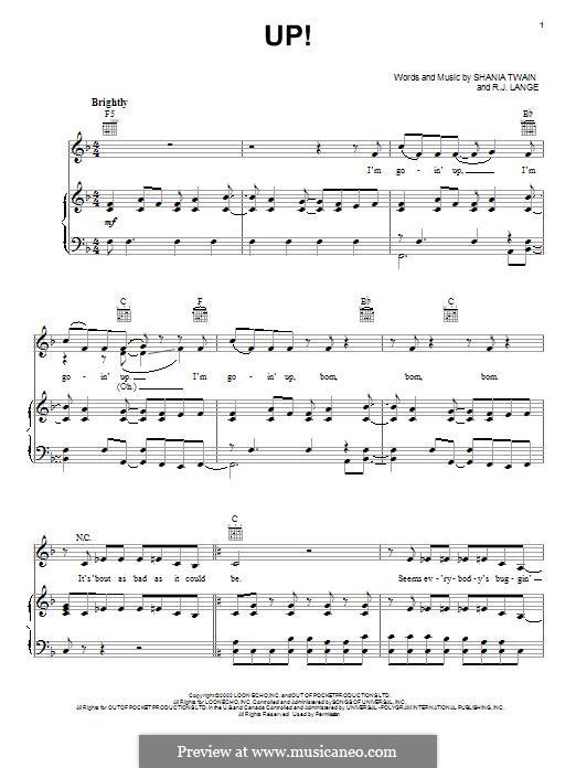 Up!: Para vocais e piano (ou Guitarra) by Robert John Lange, Shania Twain